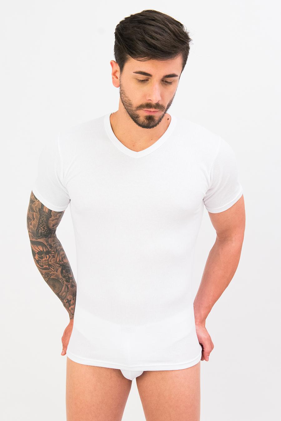 T-shirt in puro cotone a costine 9205