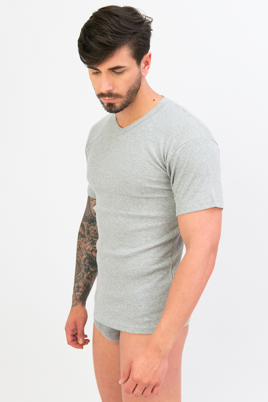 T-shirt in puro cotone a costine 9206