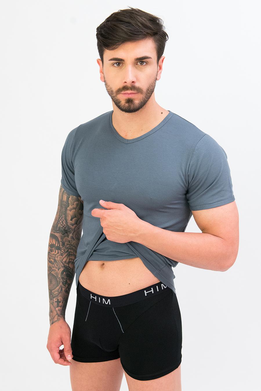 T-shirt in cotone e modal collo V 9279