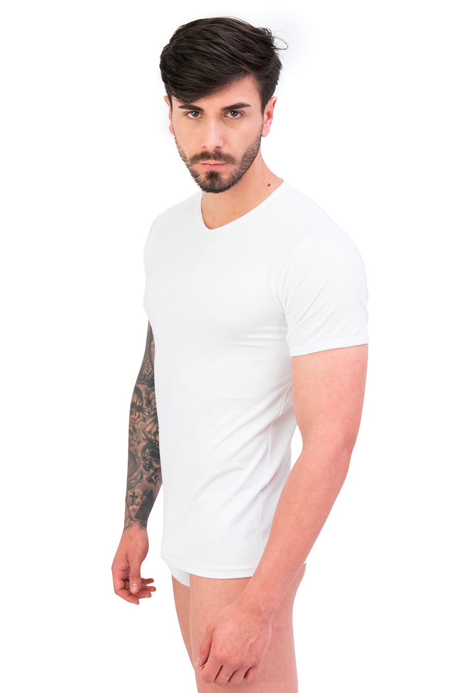 T-shirt in cotone e modal collo V 9279