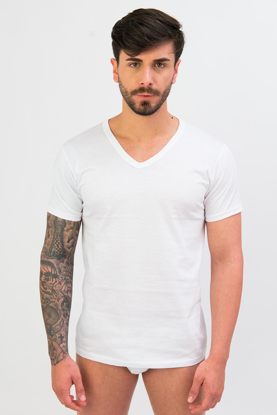 T-shirt in puro cotone scollo V