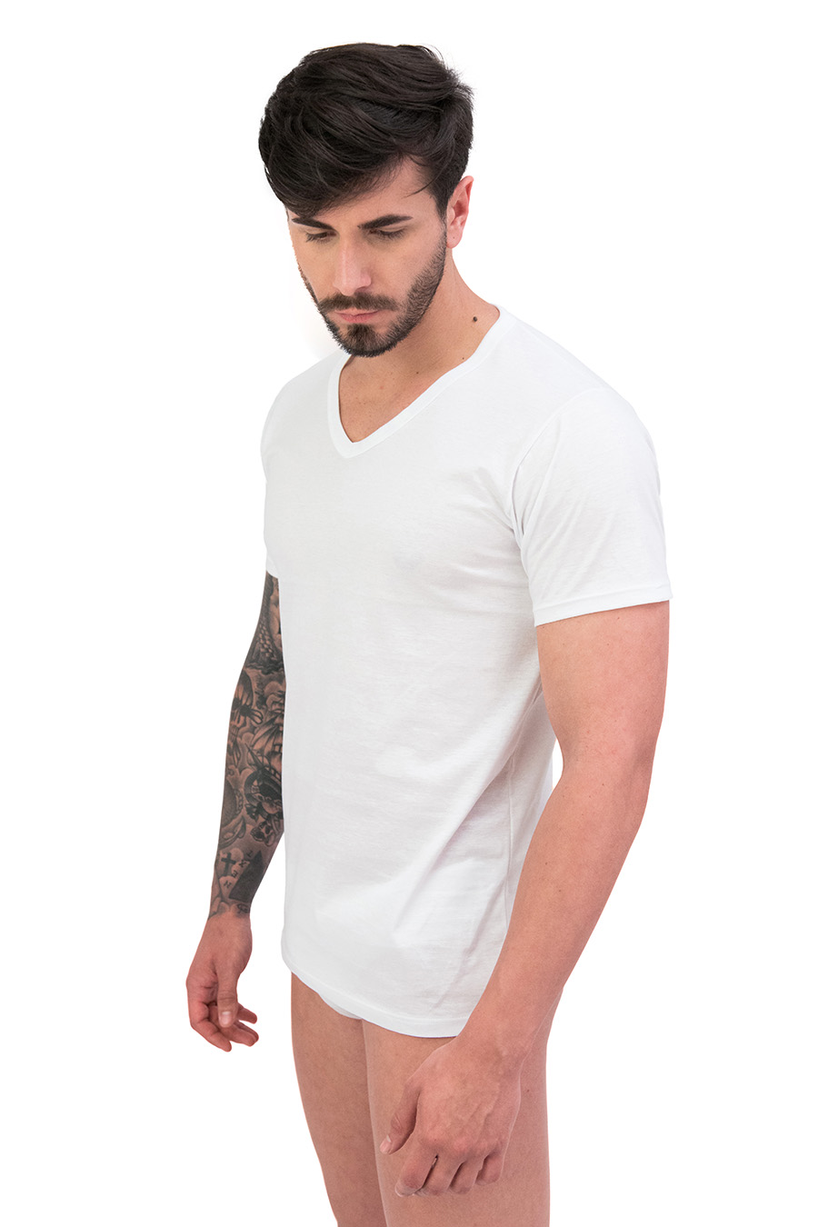 T-shirt in puro cotone scollo V 9106