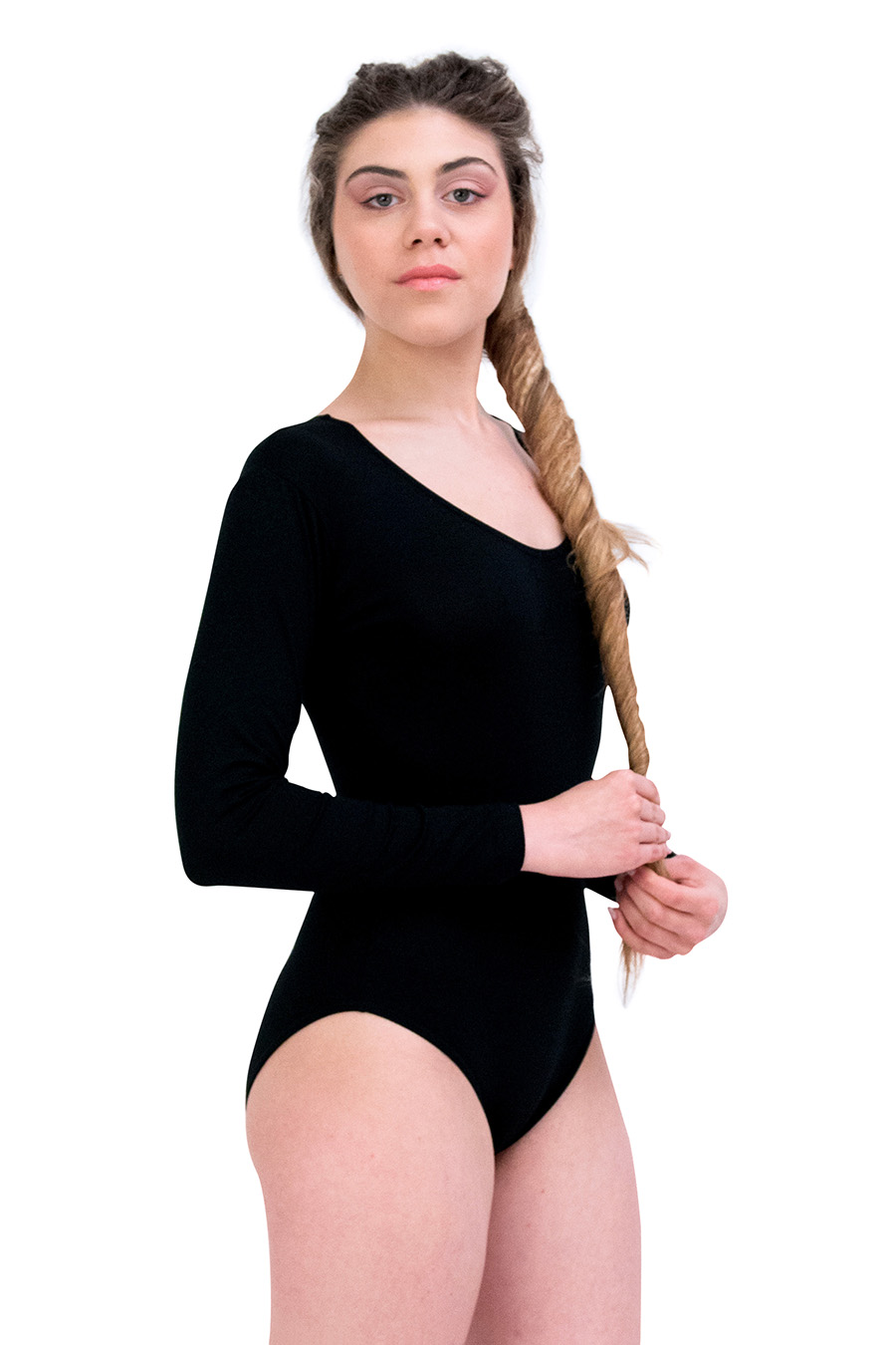 Body a manica lunga in cotone e modal