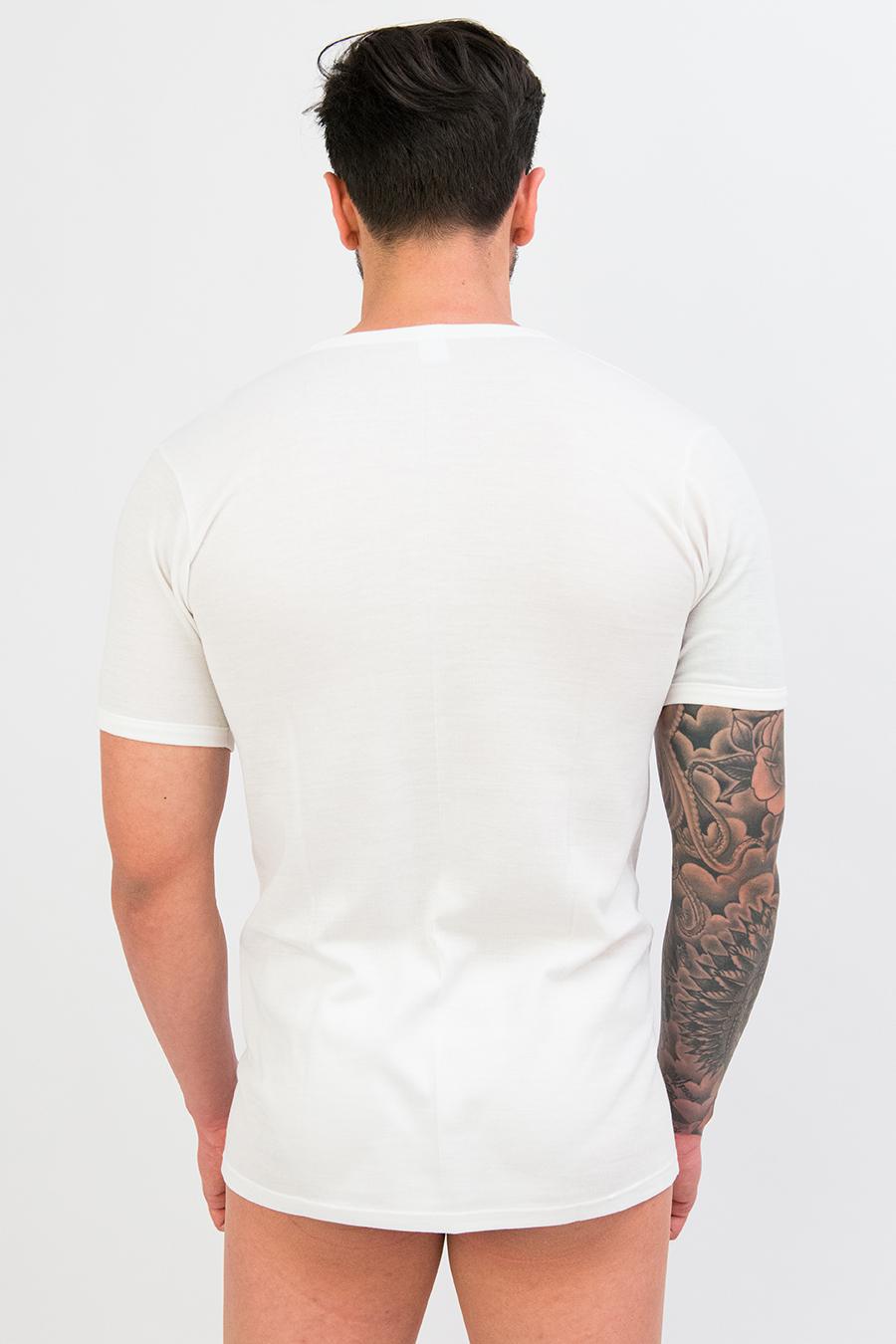 T-shirt dual cotone sulla pelle e lana fuori