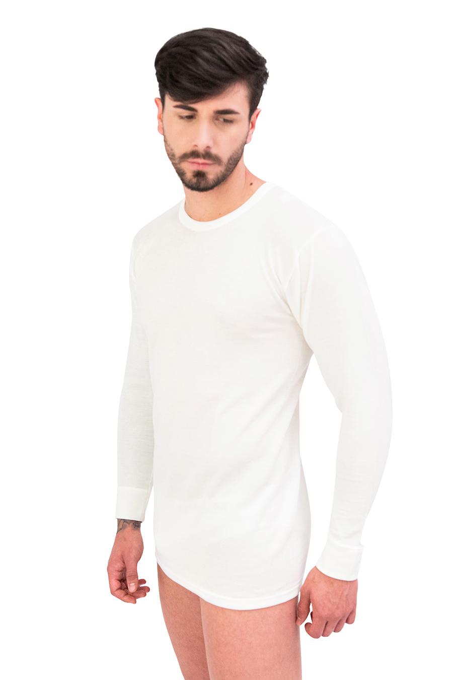 Maglia manica lunga dual cotone sulla pelle e lana fuori