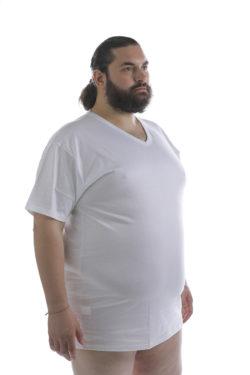 T-shirt Taglie Forti in puro cotone scollo V