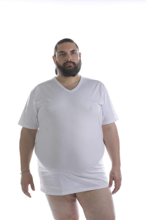 T-shirt Taglie Forti in puro cotone scollo V 9106