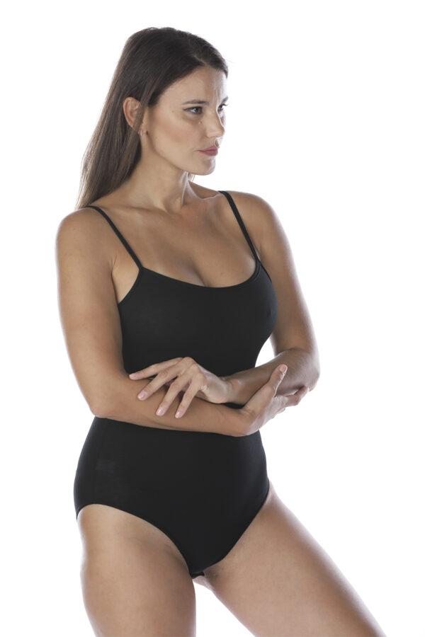 Body in cotone e modal a spalla stretta